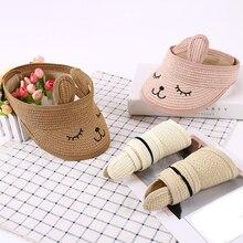 d2911c60 Unisex visor cap 1PC Korean Outdoor Cartoon sunshade baby Children Straw  Hats Sun block; Snapback