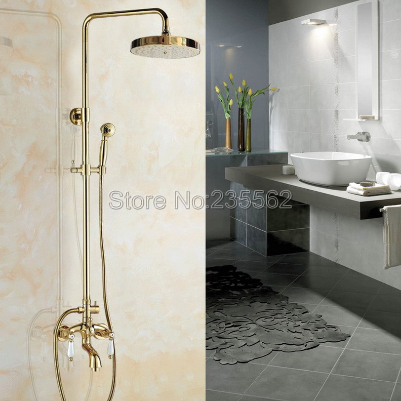 Golden Brass Wall Mounted Rain Shower Faucet Set Bathroom Tub Dual Handle Mixer Tap with Shower Heads + Handheld Shower lgf425