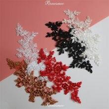 3 pares/6 Pcs Glitter Vermelho Rendas Applique Flor de Lantejoulas Tecido de Renda Para O Casamento de Vestuário Acessórios de Pano DIY Craft 25X10.5cm SX291