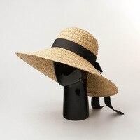 New Butterfly knot Ribbon Hand woven Raffi Straw Hat Outdoor Travel Sunscreen Beach Shade Straw Hat summer hats for beach women