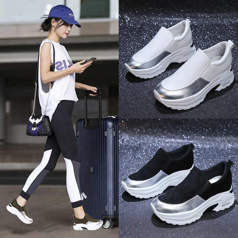 bb6898eff3 2019 brand new women's shoes black white tennis sports running casual shoes  green thick platform shoes