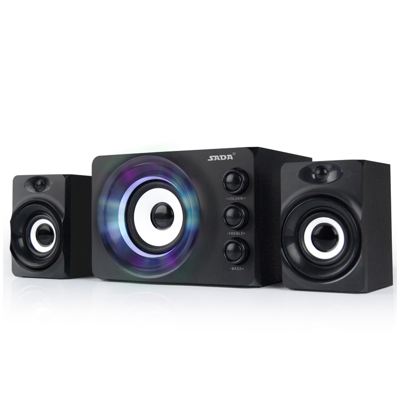 New Fashion 3.5mm Speaker With Ambient light ,USB Powered Bass and Treble Adjustable 2.1 Speakers for computer pc laptop Desktop
