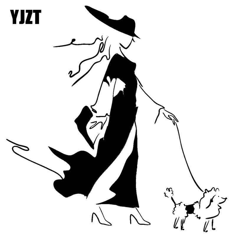 Automobiles & Motorcycles 2019 New Style Yjzt 14.9cm*15.2cm Girl Walk Dog Vinyl Sticker Decals Black/silver C10-00394 Making Things Convenient For The People