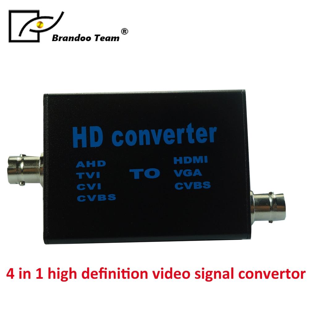 New 4 IN 1 HD AHD TVI CVI CVBS Video Converter Signal to HDMI/VGA/CVBS 2016 new ahd camera signal to hdmi vga cvbs converter support hdmi vga cvbs bnc output 1080p 25 30hz hd video converter black