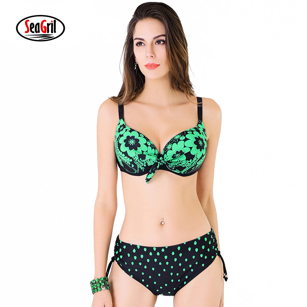 Sea Girl Bikini Set Push-up Adjustable Straps Swimwear Plus Size Swimsuit Mid Waist BathingSuit