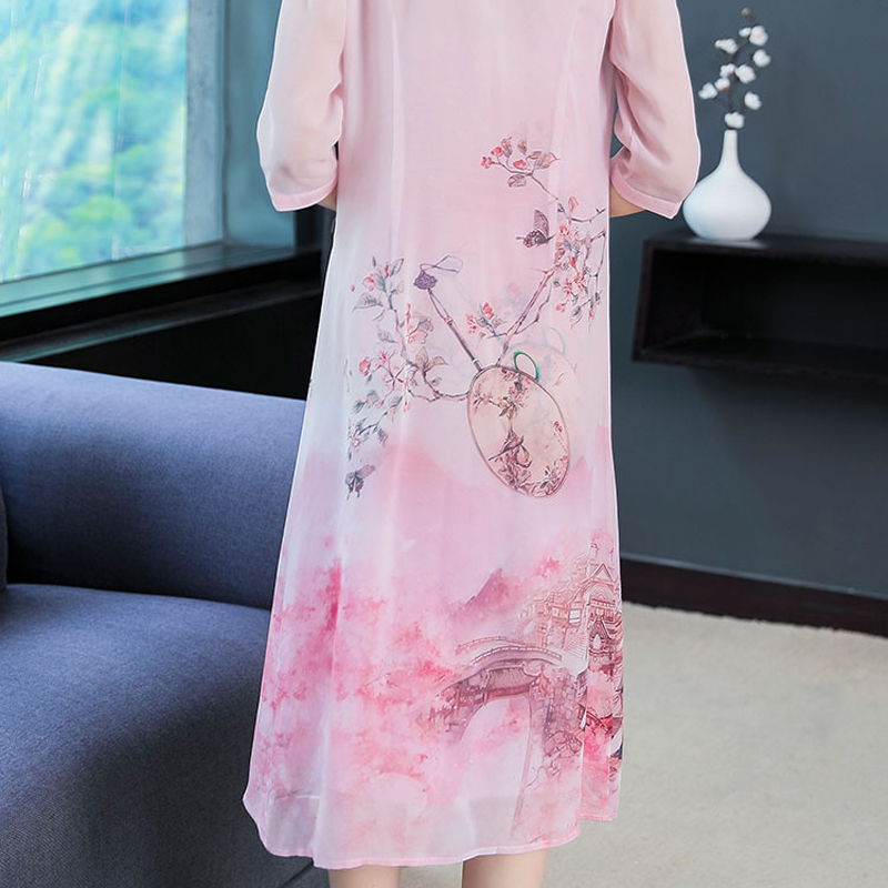 Sleeveless Dress with Cardigan 2 Piece Set Dresses Suits Print Floral Elegant Vintage Chinese Plus Size Big 2019 Summer Clothing in Dresses from Women 39 s Clothing
