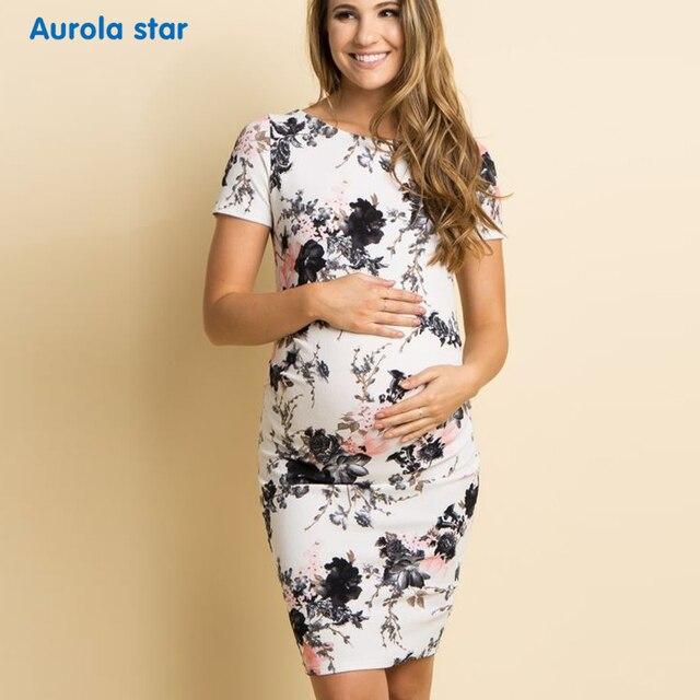 5441632c Lato kobieta sukienka kwiatowy Print ciąży sukienki dla kobiet w ciąży  kobiety na co dzień na łodzi szyi sukienka ciążowa nowa sukienka na ...