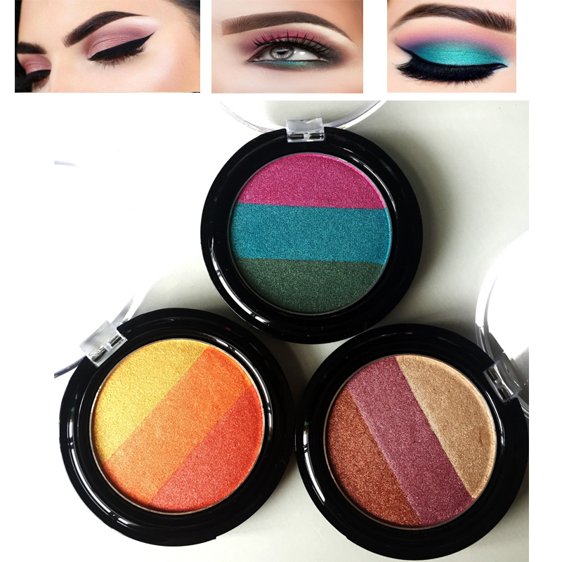 New Professional Raninbow Highlighter Eyeshadow Palette Bright 3 In 1 Flash Powder waterproof Shimmer Eye Shadow Makeup
