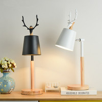 Nordic LED Table Lamp With Metal Lampshade For Bedroom White Bedside Desk lights Black Reading Lamps Wooden Luminaria