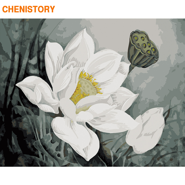 CHENISTORY Frame Lotus DIY Painting By Numbers Acrylic Paint By Number Handpainted For Home Decor Calligraphy Painting 60x75cm