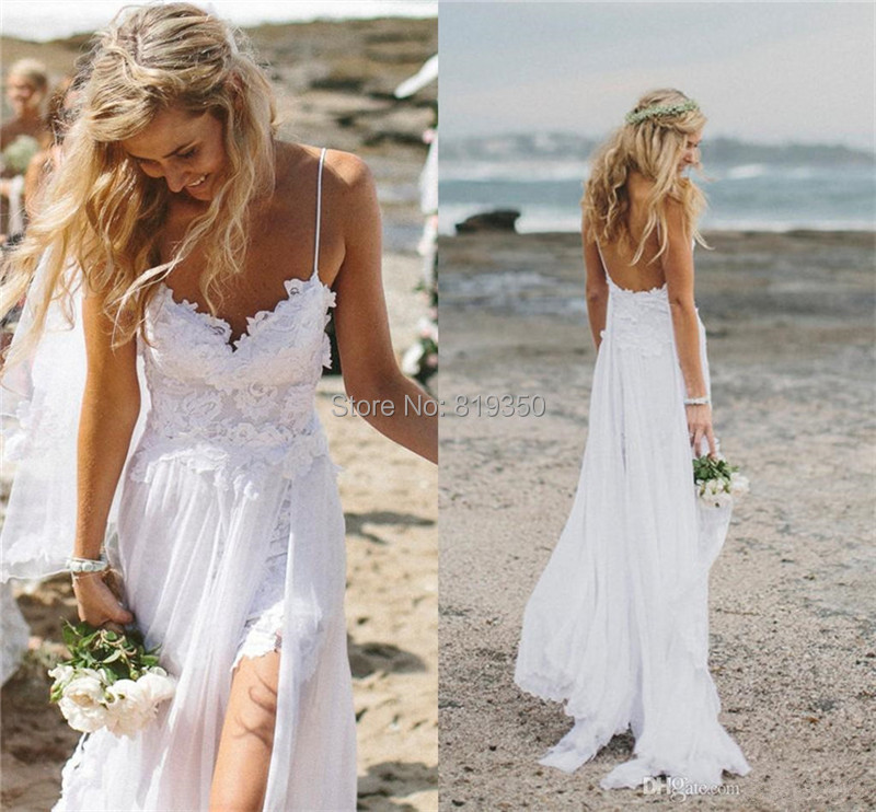 Y White Lace Beach Summer Wedding Dresses Open Back Spaghetti With Lique Split Side Chiffon Floor Length Bridal Gowns In From
