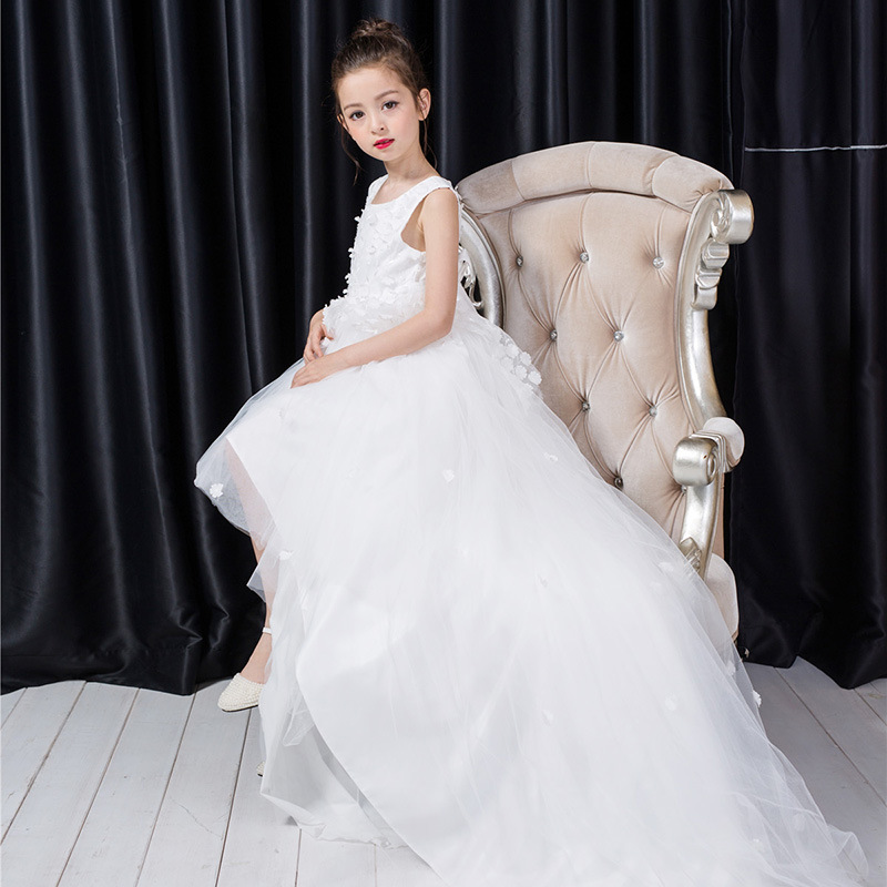 Long Tailed White Flower Girls Dress Layers White Girl Vestido for Party 2017 Girls Clothes 3 4 6 8 10 12 Years Old RKF174033