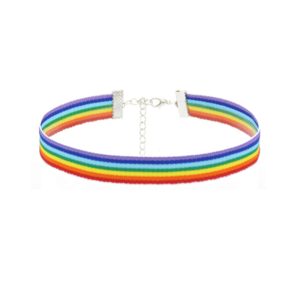 Fashion Colorful Rainbow Choker Necklace Clavicle Chain Ribbon For Men Women Lesbian Bisexual Pride Simple Jewelry Party Gift