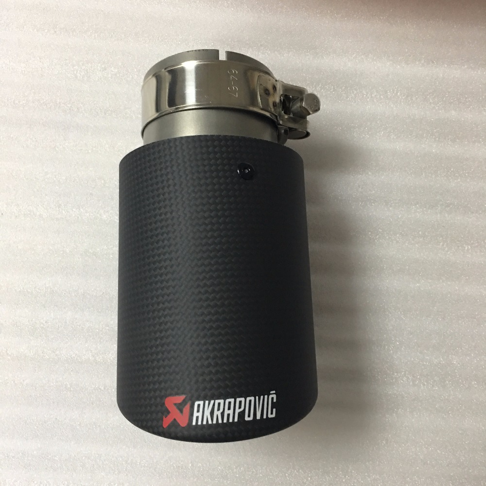 Akrapovic Auto <font><b>Exhaust</b></font> End <font><b>Tips</b></font> <font><b>Exhaust</b></font> Pipe with Carbon Fiber INLET <font><b>57mm</b></font>, OUTLET 101mm image