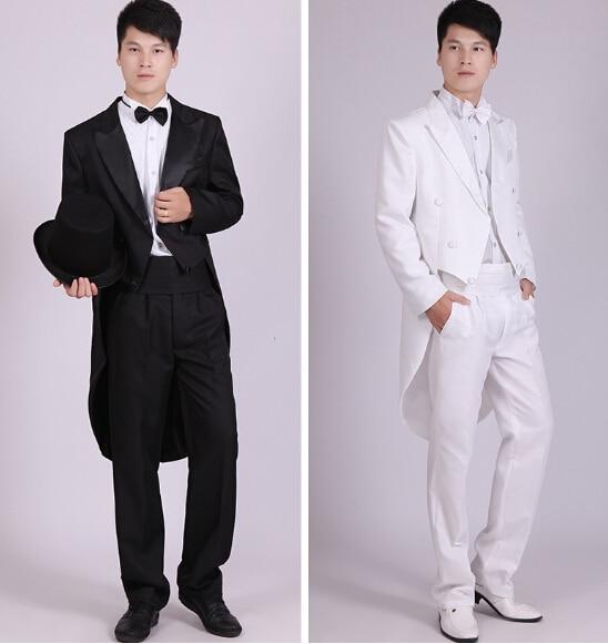 Hombres de esmoquin negro vestido de Jazz navidad espectáculo de magia de  la boda traje de frac Mens trajes esmoquin blanco y negro en Trajes de La ropa  de ... 4e9cf73931d