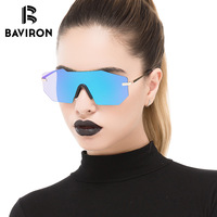 BAVIRON New Shield Rimless Women Sunglasses Italy Fashion Design Model Walking Style Sun Glasses Integrated Vintage