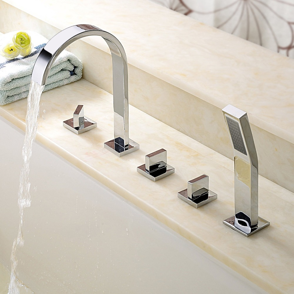 Modern bathroom bathtub faucets contemporary roman tub filler with modern bathroom bathtub faucets contemporary roman tub filler with handshower in shower faucets from home improvement on aliexpress alibaba group publicscrutiny Images