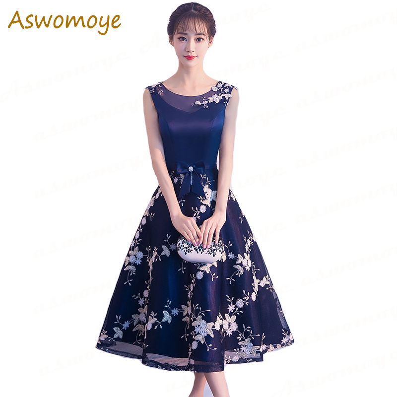 Tea-Length   Evening     Dress   Embroidery Floral Party Formal   Dresses   Bow Sashes Vestido De Festa Prom Gown 2018 Robe De Soiree