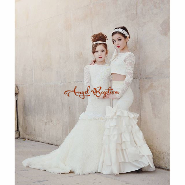 Two pieces white/ivory sheer long sleeves lace flower girl dresses beautiful wedding party mermaid gowns for kids custom made
