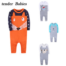 Baby Romper Cartoon Rabbit Fox Baby Clothes 2018 Cotton Jumpsuit Newborn Overall Baby Girl Boys Gift 2018 Brand New baby suit(China)