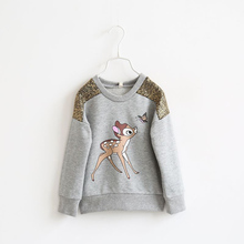 New Girls Plus Deer Cartoon Printed Round Neck Long-Sleeved T-shirt Bottoming Shirt  Spring / Autumn Baby Girl Clothes