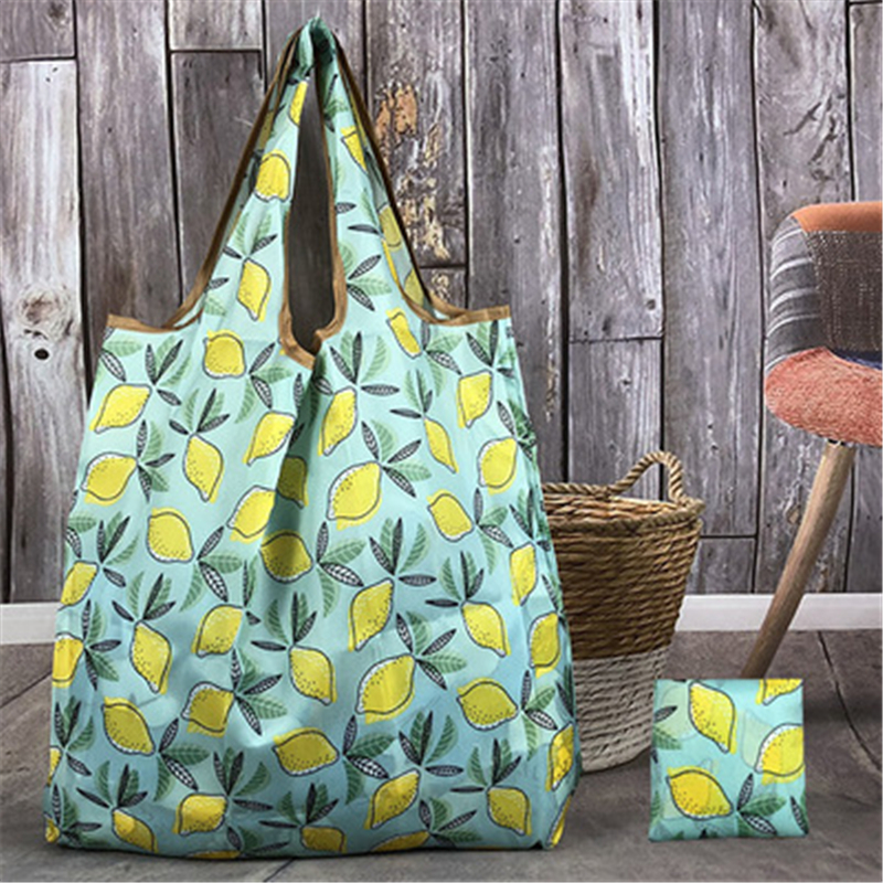Green Lemon Oxford Foldable Recycle Shopping Bag Eco Reusable Shopping Tote Bag Cartoon Floral Fruit Vegetable Grocery Pocket