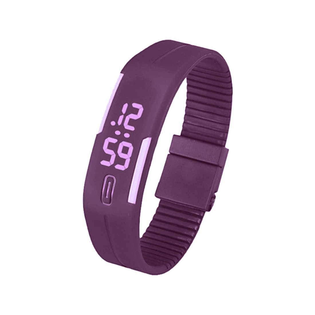 Sports Silicone Rubber White LED Digital Watch Bracelet Men Women Purple