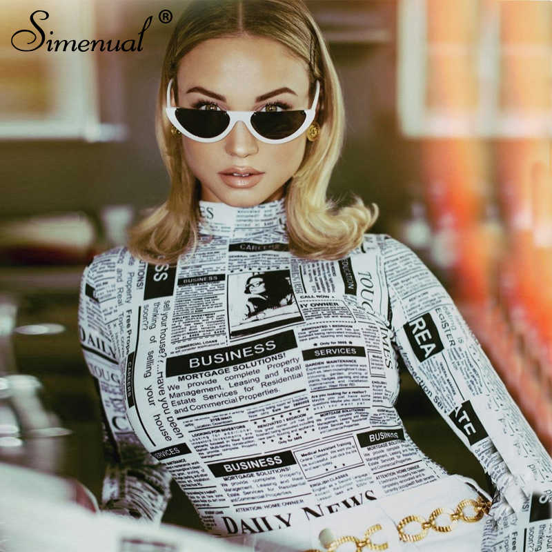 4a373c6a2c Simenual Turtleneck bodysuit women 2019 long sleeve rompers newspaper  printed jumpsuits fitness sexy bodysuits fashion playsuits
