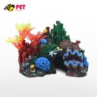 Aquarium Decoration Artificial Mounted Coral Reef Fish Cave Tank Decor Ornament Plastic Accessories