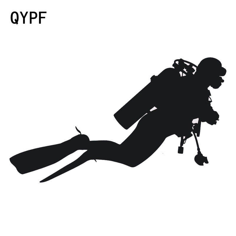 QYPF 18.3cm*10.5cm Car Styling Fashion Diving Vinyl Car Stickers Personality Accessories Black Silver S2-0529