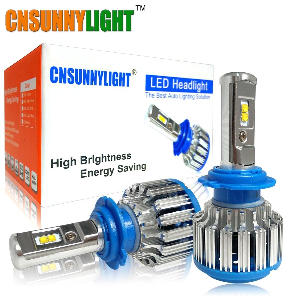 CNSUNNYLIGHT Voiture LED Phares H7 H4 H1 H3 H11/H8 HB3/9005 HB4/9006 880 H13 9004 9007 7000LM Blanc Brillant LED De Remplacement ampoules