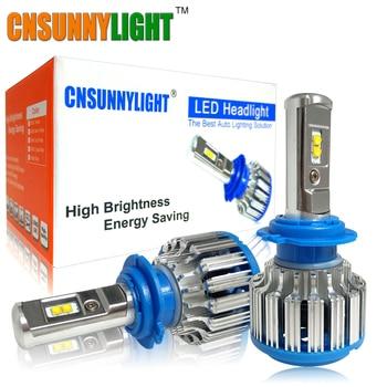 CNSUNNYLIGHT Voiture LED Phares H7 H4 H1 H3 H11/H8 HB3/9005 HB4/9006 880 H13 9004 9007 7000LM Blanc Brillant Remplacement ampoule LED