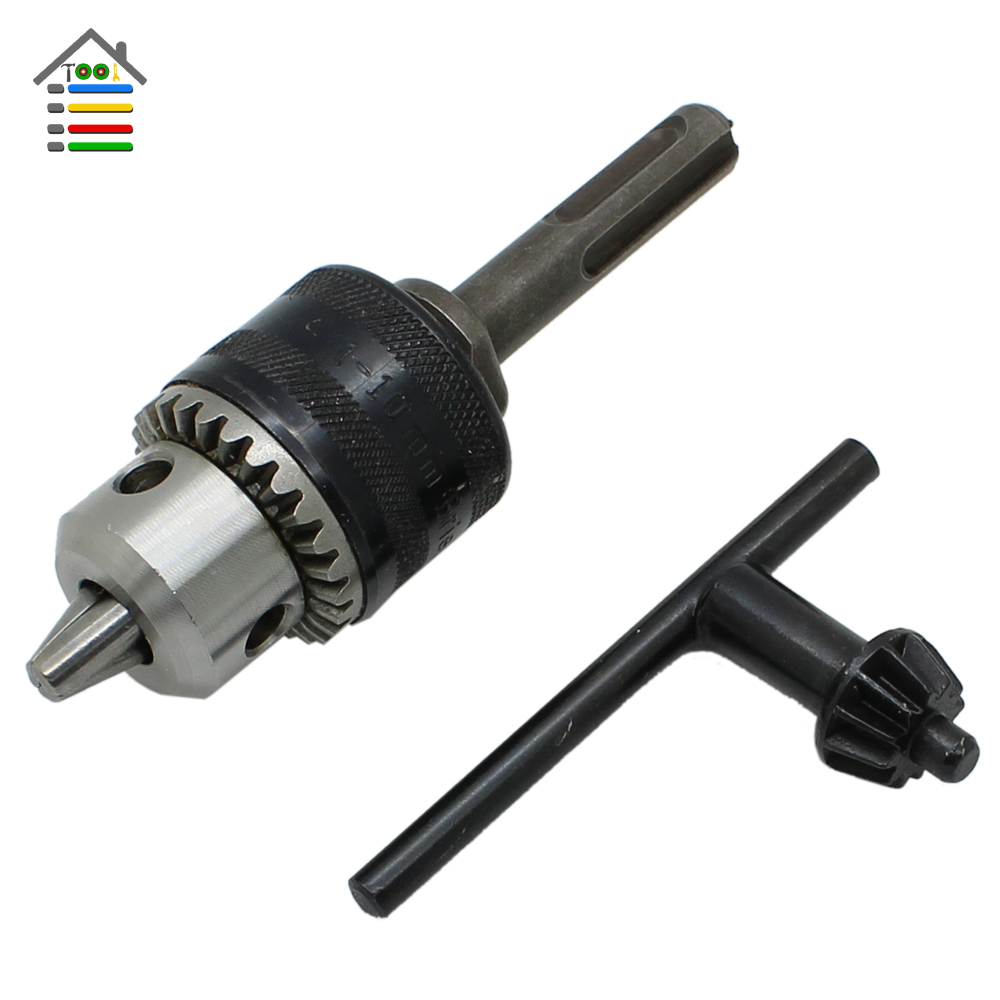 REPLACEMENT Keyless Drill Chuck 1.5-10mm 1/2-20UNF Thread With Key And SDS Plus Adapter For Electric Hammer Drill цена