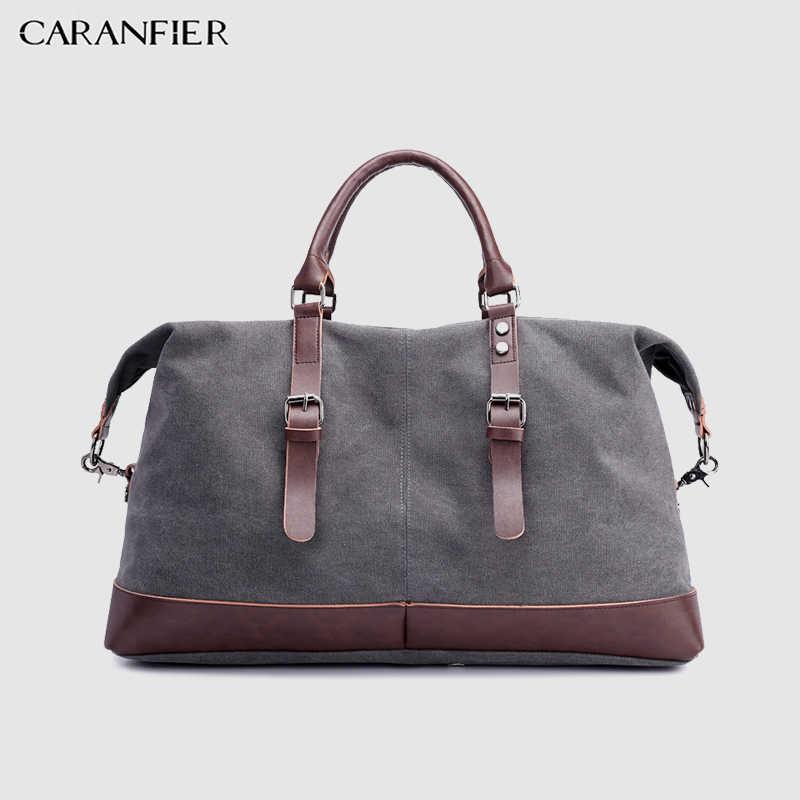 CARANFIER холщовые Кожаные мужские сумки 22 ''дорожная сумка для багажа Мужская спортивная сумка для путешествий большая сумка для выходных на ночь большая спортивная сумка