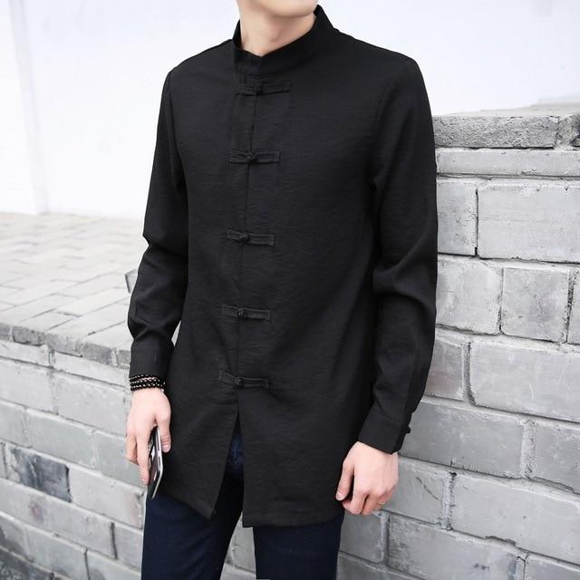Top À 2017 Longue Manches Chinois Style La Chemise Fashion Dans Col Rétro Promotion de Hommes Y5xrfq5
