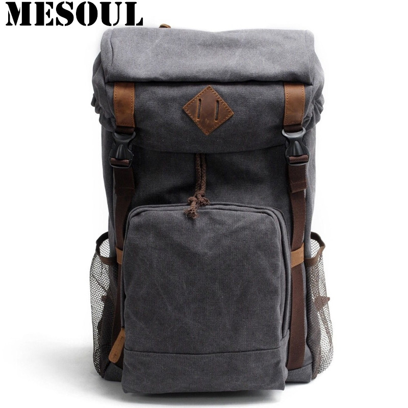 Military Canvas Men Backpack Youth School Bags Vintage Casual Large Capacity Travel Shoulder Bags ArmyGreen Laptop Backpack bag men s leather canvas backpack youth large capacity vintage military backpack travel bags fashion casual women laptop school bags