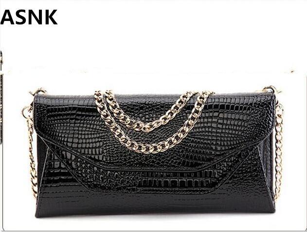 ASNK-sac à main motif Crocodile pour femmes, sac à épaule en cuir, pochette de soirée, portefeuille, chaîne, sacoche