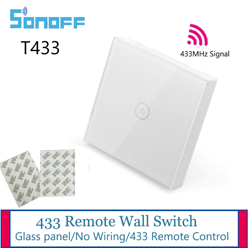 Sonoff 433 Remote Control Glass Wall Touch Switch T433 for Sonoff T1 EU UK/4CH Pro/Slampher RF/Dual Control SwitchSonoff 433 Remote Control Glass Wall Touch Switch T433 for Sonoff T1 EU UK/4CH Pro/Slampher RF/Dual Control Switch
