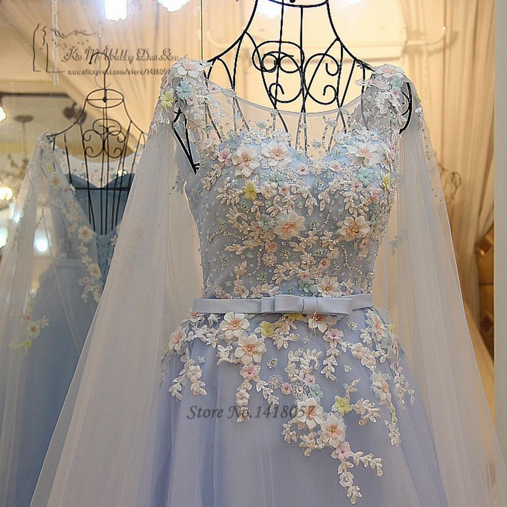 Sky Blue Bohemian Wedding Dress Lace Colorful Flowers Princess Wedding Gowns Plus Size China Bridal Dresses 2017 Robe de Mariage