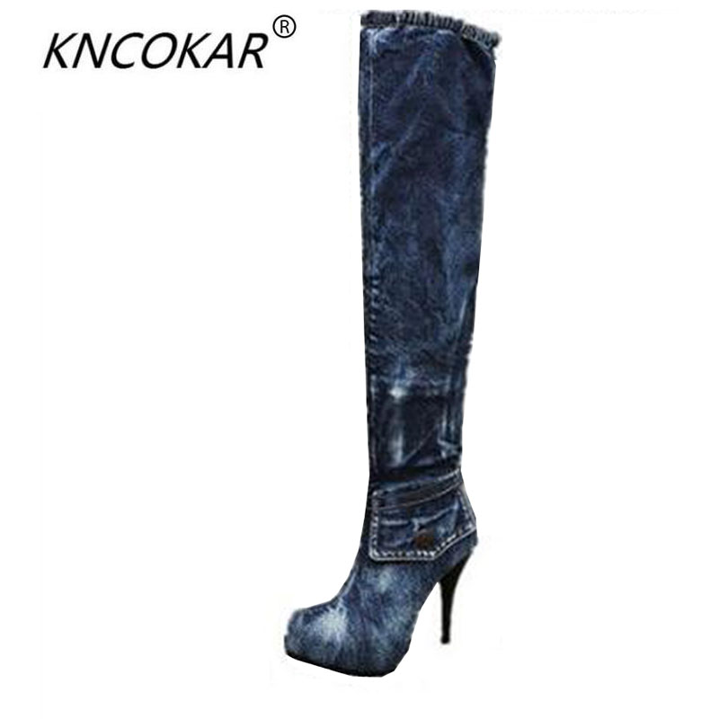 The new denim knee-high boots thin leg stretch boots fine round head high heels with waterproof sexy women's shoes women shoes high heels high boots with fine denim women s boots