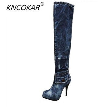 The new denim knee-high boots thin leg stretch boots fine round head high heels with waterproof sexy women's shoes