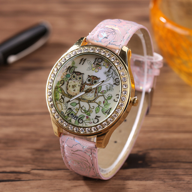 Women's Watch Cartoon Lovely Owl Digital Dial Quartz Watches Leather Strap 2018