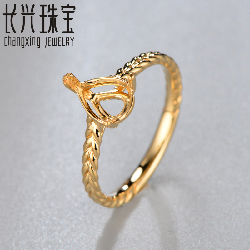 6x8mm Pear Solid 18k Yellow Gold Semi Mount Engagement Ring Setting