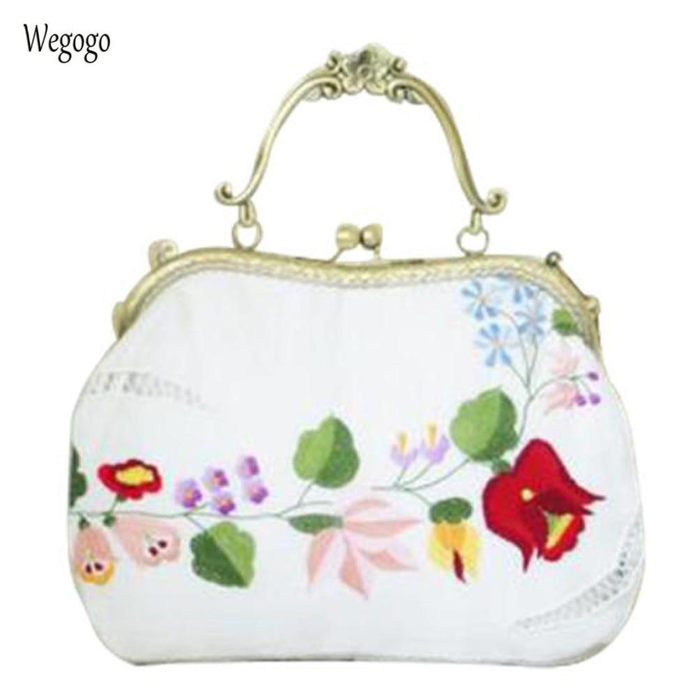 Summer Women Bag Floral Embroidered Kiss Lock Clutch Travel Beach Handbag Handmade Vintage Elegant White Party Evening Bag цена