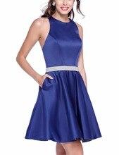 Einfache Haupt Recht Blau Homecoming Cocktailkleider Perlen Satin Kurzes Partei-kleid. Klasse Graduation Vestido De Festa Curto