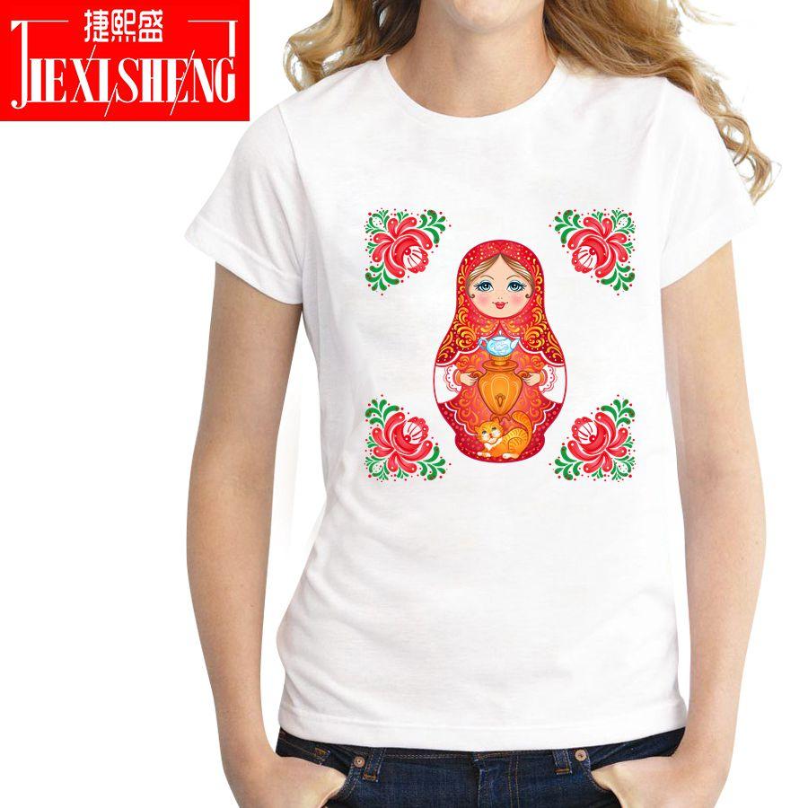 Russia Cartoon Printed T Shirt Women Summer Casual T-shirt Puls Size Short Sleever O-neck Matryoshka Tops