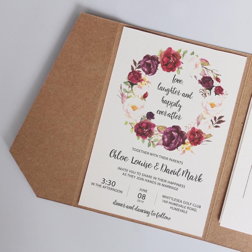 Vintage Pocket Wedding Invitations, Rustic Invitation Cards ...
