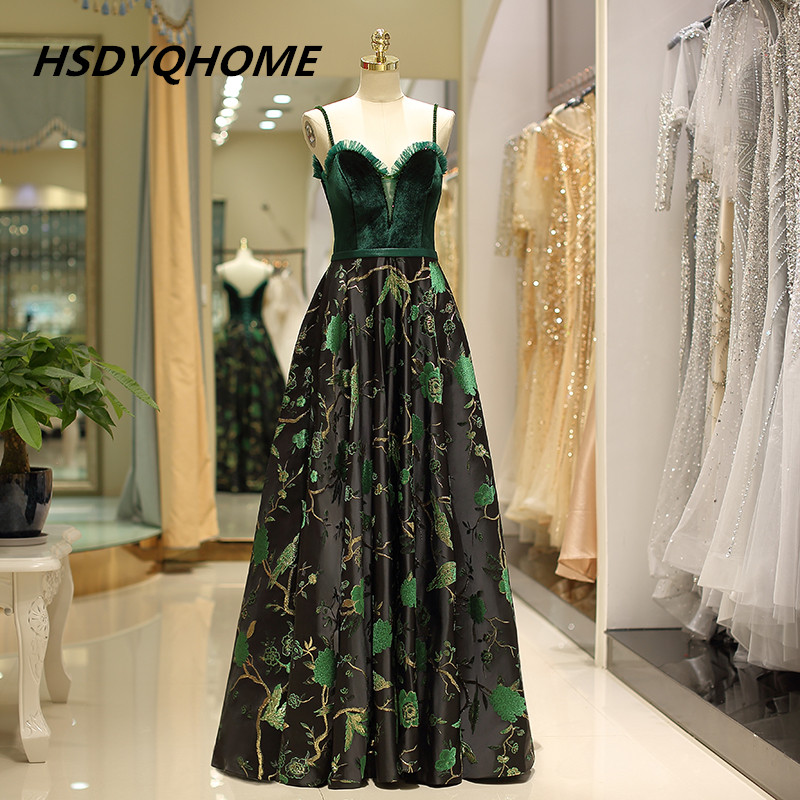 HSDYQHOME Elegant High Quality   Evening     Dresses   Sleeveless A-Line Long Prom   Dress   Spaghetti Strap   Evening   Party gown