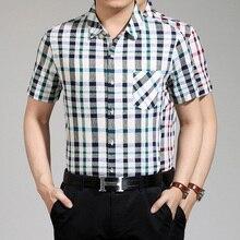 New design summer men's dress shirt wrinkle free plaid button man office shirts