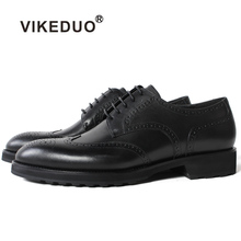 Vikeduo Classic flower block Handmade Luxury Wedding party shoes business black brand male Dress genuine Leather men derby